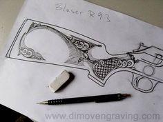 Blaser 5 - dimovengraving.web - Picasa Web Albums Reloading Bench, Rifle Stock, Gun Art, Wood Carving Art, Carving Designs, Wood Engraving, Scroll Saw, Woodworking Plans, Wood Crafts