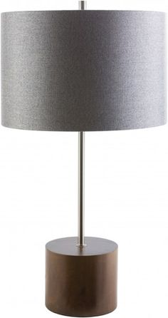 Kingsley Contemporary Natural Gray Wood Polyester Table Lamp