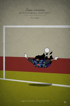 great moments in football history series illustration Rene Higuita scorpion kick colombia england goalkeeper Art Football, Soccer Art, Soccer Poster, Football Design, World Football, Soccer World, Vintage Football, American Football, Football Pictures