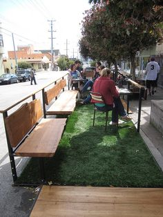 Nice way to create healthy green space. Good for the environment too instead of concrete.  Farley's parklet by throgers