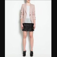 """Zara Light Pink Blazer Small chest: 15"""" length: 24"""" arm: 23.6// great staple// good used condition// elbow patches have normal suede wear. Priced accordingly Zara Jackets & Coats Blazers"""