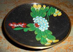 Vintage Bowl Cloisonne Brass Enamel Floral Brass by TheBackShak