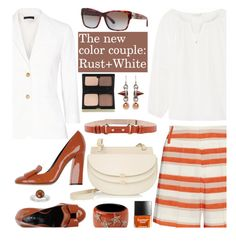 """The new color couple: Rust + White"" by hamaly ❤ liked on Polyvore"