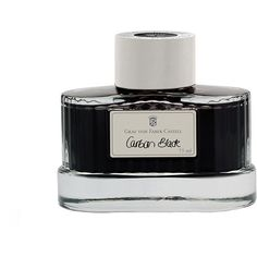 Graf von Faber-Castell Ink Glass - 75ml - Black ($37) ❤ liked on Polyvore featuring home, home decor, office accessories, filler, black, colored glass bottles, document box, glass fountain pen, glass box and black glass bottle