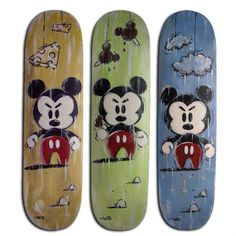 Will Gay did angry Mickey on recycled skateboard decks.