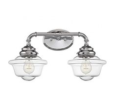 Savoy House Fairfield 2 Light Bath Bar in Chrome, Silver Bathroom Wall Lights, Bathroom Light Fixtures, Bathroom Vanity Lighting, Vanity Mirrors, Wall Sconces, Vanity Bar, Vanity Ideas, Luminaire Original, Contemporary Vanity