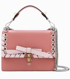 3ca03c4e5e7 Medium Kan I Bow Tie Pink Macaron Confetti Calfskin Leather Shoulder Bag