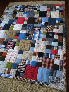 Memorial Quilt by Lux Keepsake Quilts The Effective Pictures We Offer You About patchwork quilting videos A quality picture can tell you many things. You can find the most beautiful pictures that can Flannel Quilts, Plaid Quilt, Boy Quilts, Rag Quilt, Shirt Quilts, Patchwork Quilting, Scrappy Quilts, Quilt Block Patterns, Quilt Blocks