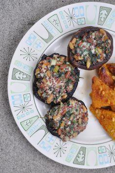 stuffed portabella mushrooms  with white beans, spinach, quinoa, greek yogurt....by ashdmarcin, via Flickr