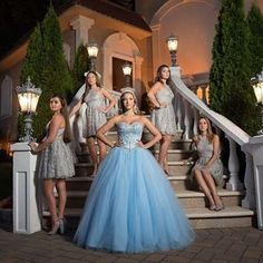 Sweet 16 girl Karinna and her Court looking amazing during her Cinderella Themed Sweet 16 Party at The Villa Barone Hilltop Manor. Can you say squad goals? Cinderella Quinceanera Themes, Quinceanera Court, Quinceanera Decorations, Quinceanera Dresses, Chiffon Dresses, Bridesmaid Gowns, Pageant Dresses, Long Dresses, Sweet 16 Dresses