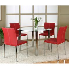 Napoli Dining Room Set W Corona Red Chairs  Furniturepick Dining Enchanting Dining Room Chairs Red Inspiration