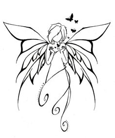 I like the wings - This would make a nice tattoo :) Fairy Art, Colouring Pages, Fairy Coloring, Pyrography, Faeries, Doodle Art, Painted Rocks, Line Art, Painting & Drawing