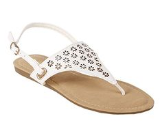 Fashion Slingback Ankle Buckle Gladiator Casual Womens Sandals Ankle Strap Flats Shoes New Without Box 65 Beige White *** You can find more details by visiting the image link.