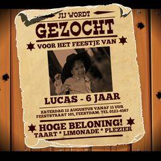 Spannende 'GEZOCHT' poster uit het Wilde Westen voor een stoere-jongens feestje! Pas de teksten aan, vervang de foto en het feest kan beginnen!