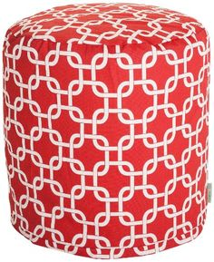 Majestic Home Goods Links Pouf, Small, Red