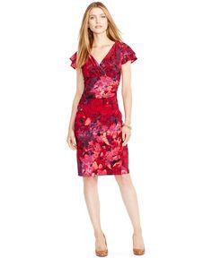 Lauren Ralph Lauren Flutter-Sleeve Floral-Print Dress - Dresses - Women - Macy's