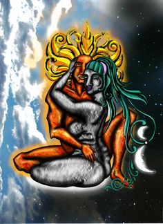 Moon and Sun Making Love by porotazuki.deviantart.com on @DeviantArt
