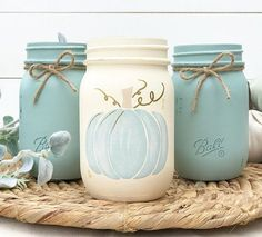 Decorative Set of 3 Hand-Painted Ball Mason Jars in our own unique Fall themed colors ready to be placed in your beautiful Fall . Mason Jar Christmas Crafts, Jar Crafts, Bottle Crafts, Mason Jar Gifts, Mason Jar Diy, Fall Mason Jars, Mason Jar Projects, Diy Projects, Idee Diy