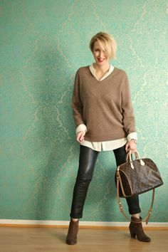v sweater and button up blouse