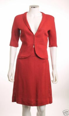 ZARA WOMAN RED 2 PIECE JACKET AND SKIRT SUIT 4/6