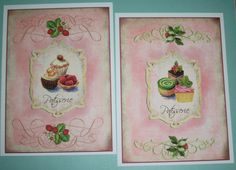 Shabby Chic - Pink - CUPCAKE and KITCHEN WaLL ArT - 5 x 7 prints - set of 4 - Pink - Click on All Photos - Whimsical - CWA 9908. $26.00, via Etsy.