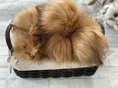 Golden Brown Handmade fur pom poms with snap buttons for interchangeable usage Newborn Photo Props, Newborn Photos, Strawberry Baby, Fingerless Gloves Knitted, Faux Fur Pom Pom, Knitted Headband, Knit Or Crochet, Golden Brown, Pom Poms