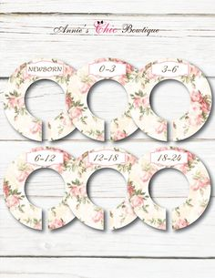 These baby girl vintage closet dividers are the cutest way to keep your little girls clothes organized. These come in soft pink vintage flowers designs. So stylish and elegant, they separate baby clothing from Newborn to 24 months or with any of the options that we offer below. They also make a perfect baby shower gift or the perfect present for a new mommy. Check out our matching baby monthly stickers: https://www.etsy.com/ca/listing/495375803/monthly-baby-stick...