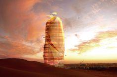 Futuristic self-sufficient vertical city rises from the Sahara Desert!