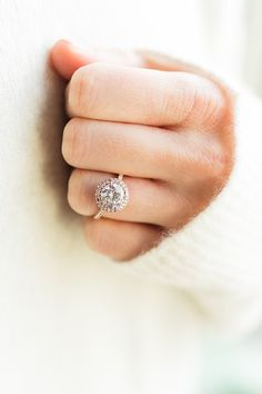 James Allen round halo ring in gold and rose gold.