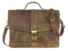 Harold's ANTICO - Leder Aktentasche Schultasche Lehrertasche Tasche - antikbraun oder taupe