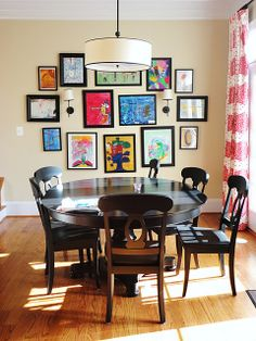 kids artwork display in dining room Hanging Kids Artwork, Displaying Kids Artwork, Art Wall Kids, Artwork Display, Art For Kids, Kid Art, Wall Art, Wall Collage, Artwork Wall