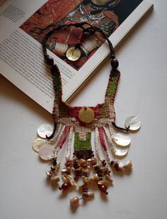 """cotton handwoven necklace /""""ivory dress""""/  different shapes of ivory/ ethnic jewelry/ boho chic/ tribal jewelry/earhy colors"""
