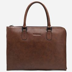 Mens Brown Leather Briefcase Business Tote Bags for Men BOSTANTEN11043