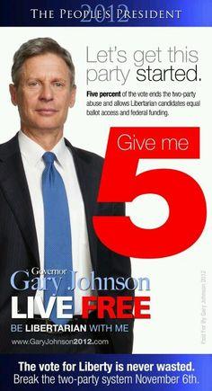 Give him 5 #GaryJohnson #Libertarian