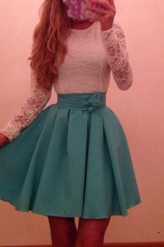 Cute Lace Splice White and Blue Dress
