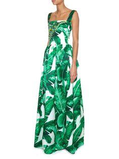 Banana leaf-print embellished gown | Dolce & Gabbana | MATCHESFASHION.COM