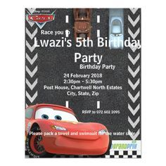 Shop Cars Birthday Invitation created by DisneyPixarCars. Personalize it with photos & text or purchase as is! Pixar Cars Birthday, Race Car Birthday, Cars Birthday Parties, Disney Birthday, Boy Birthday, Birthday Ideas, Birthday Stuff, Transportation Birthday, Kids Birthday Party Invitations