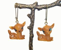 vintage Deer FAWN earrings (EAAM9) ... dimestore ... Free Shipping US