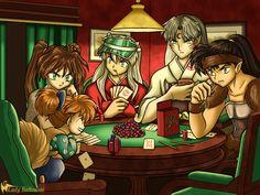 """Shippo, Ayame, InuYasha, Lord Sesshomaru, and Koga - InuYasha; fan art, """"Dogs Playing Poker"""" by ~ladybattousai on deviantART"""