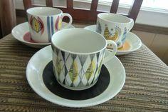 Rorstrand Sweden Vintage 50's FENIX DELIKAT CURTIS 3 Cups w/Deep Saucers