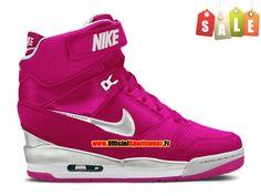 Nike Air Revolution Sky Hi GS 2015 Chaussures Montante Nike Pas Cher Pour Femme Rose Blanc 599410-901
