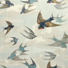 John Derian Chimney Swallows Sky Blue | 2018 Designer Wallpaper Collections | TM Interiors Charming and dramatic, this design with its beautifully drawn swooping swallows amidst gentle skies, is the perfect picturesque scene. Printed on a luxurious non woven ground for ease of hanging. Available in four tranquil colourways. Chimney Swallows - Sky Blue PJD6003-01 by John Derian wallpaper