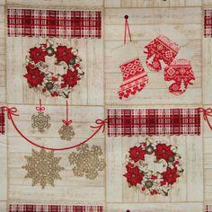 Vánoční bavlněná látka Věnečky červené na krémové