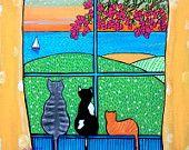 Three Cat window ocean Print Duffett