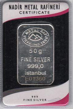 Nadir Minted Silver Bar - 50 gram - - VAT FREE