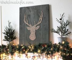 This reindeer's silhouette was carefully hot glued onto a painted pallet to make this Christmas pallet project complete.