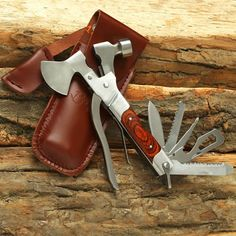 Now that is a multitool that needs to be in your camping pack! Hammer, hatchet, pliers, and the regular other stuff...#Camping #Outdoors #Tools