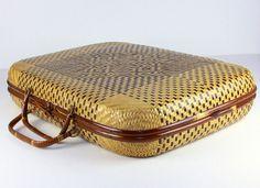 Vintage sac tissé, panier fourre-tout, Attache, porte-documents, sac rétro