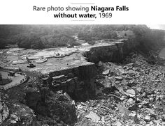 Niagra falls after being shut off by army engineers in 1969 to remove loose rocks : OldSchoolCool Best Funny Pictures, Cool Pictures, Rare Photos, Niagara Falls, Amazing Photography, Fun Facts, Science Facts, City Photo, Scenery