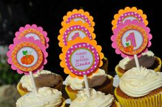 Pumpkin 1st Birthday Cupcake Toppers Girls by sosweetpartyshop